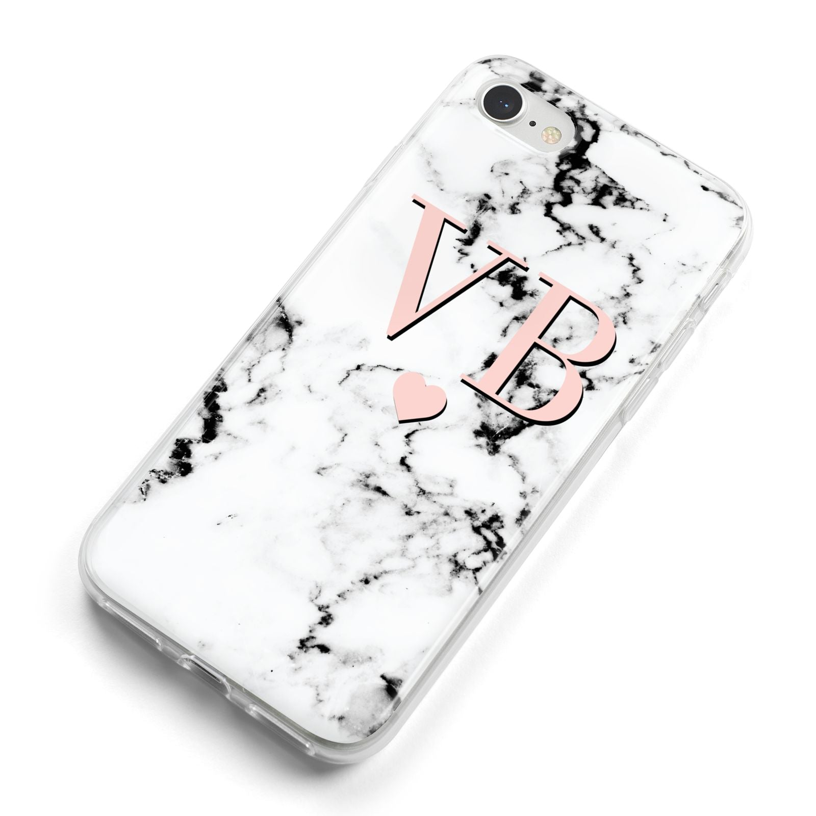 Personalised Coral Heart Initial Marble iPhone 8 Bumper Case on Silver iPhone Alternative Image