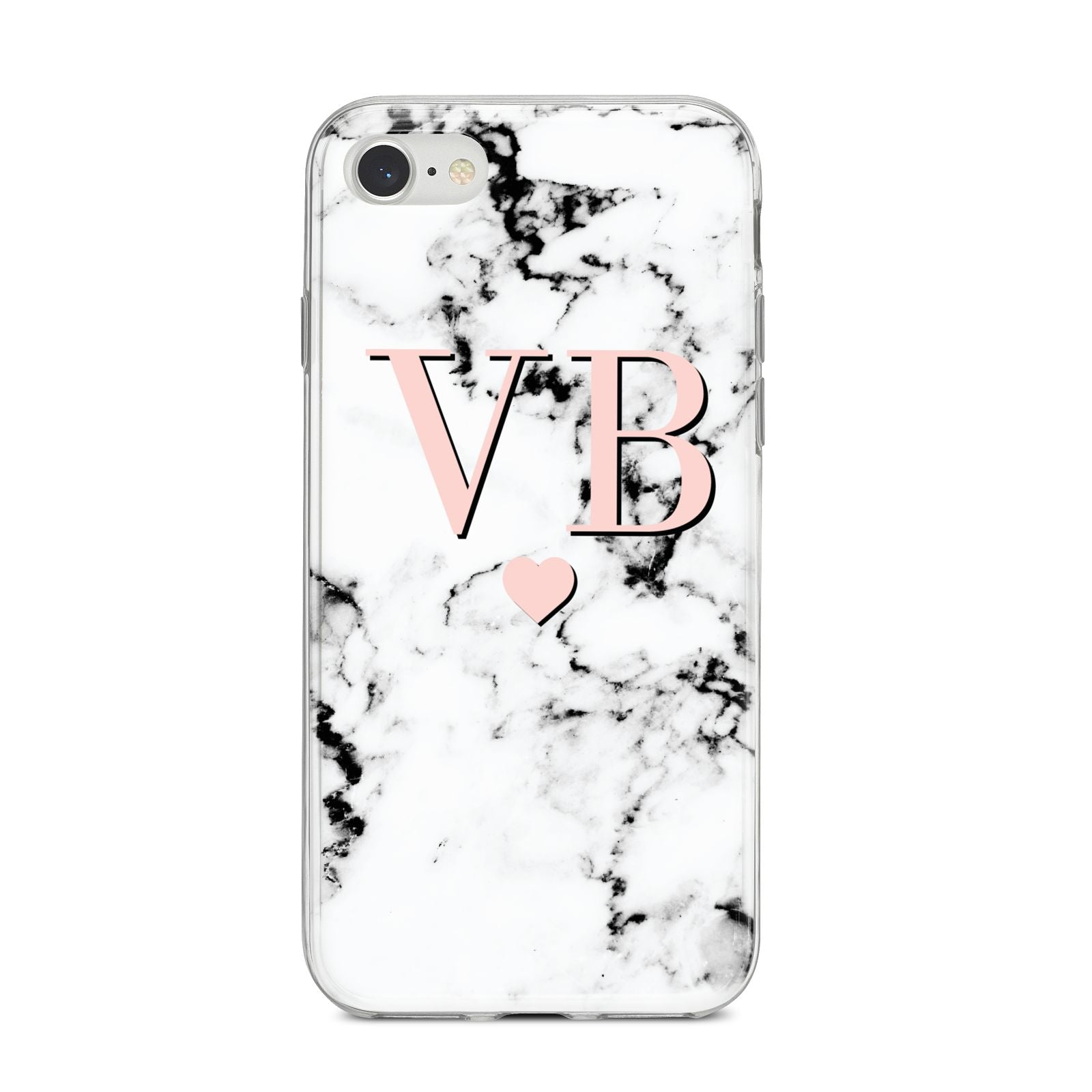 Personalised Coral Heart Initial Marble iPhone 8 Bumper Case on Silver iPhone