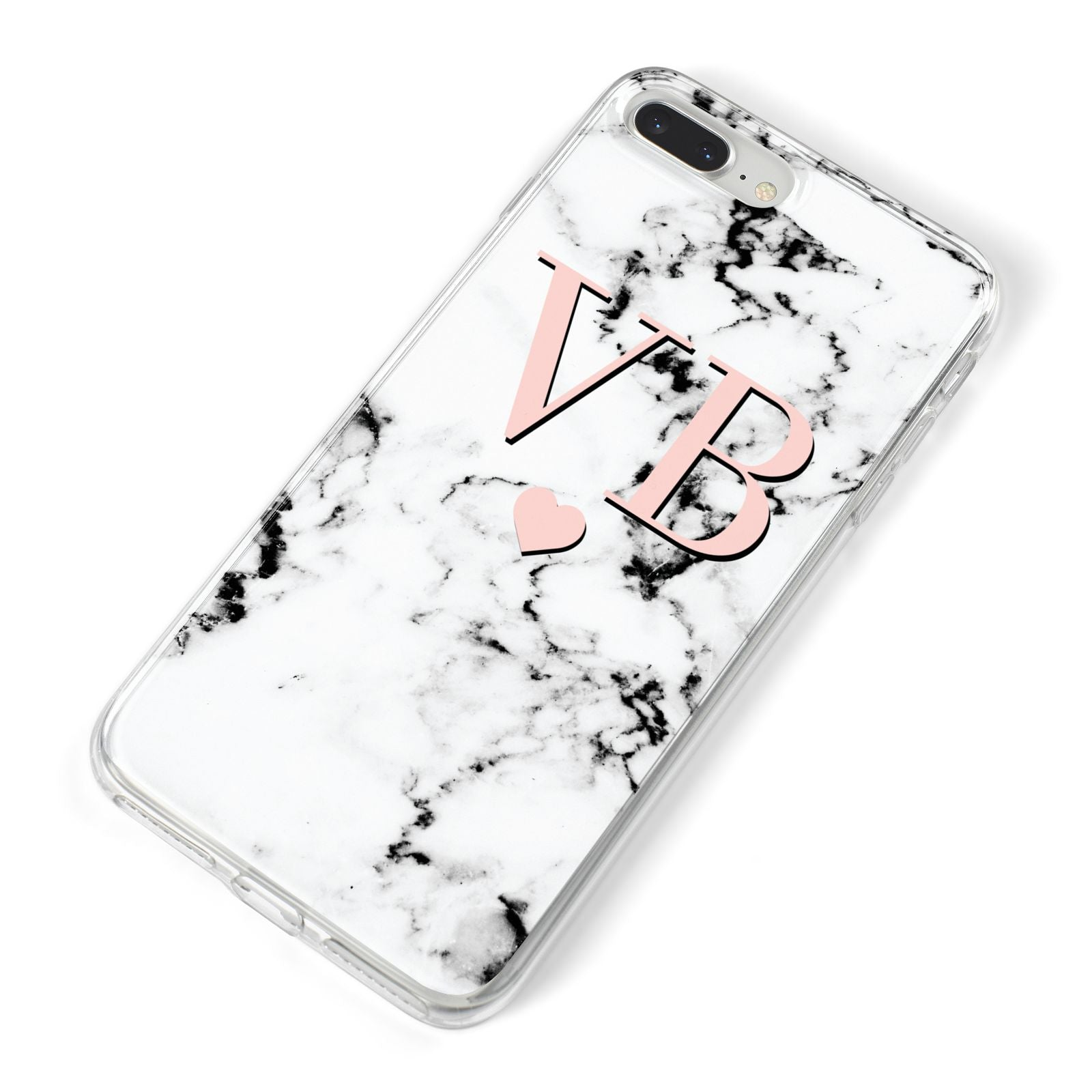 Personalised Coral Heart Initial Marble iPhone 8 Plus Bumper Case on Silver iPhone Alternative Image