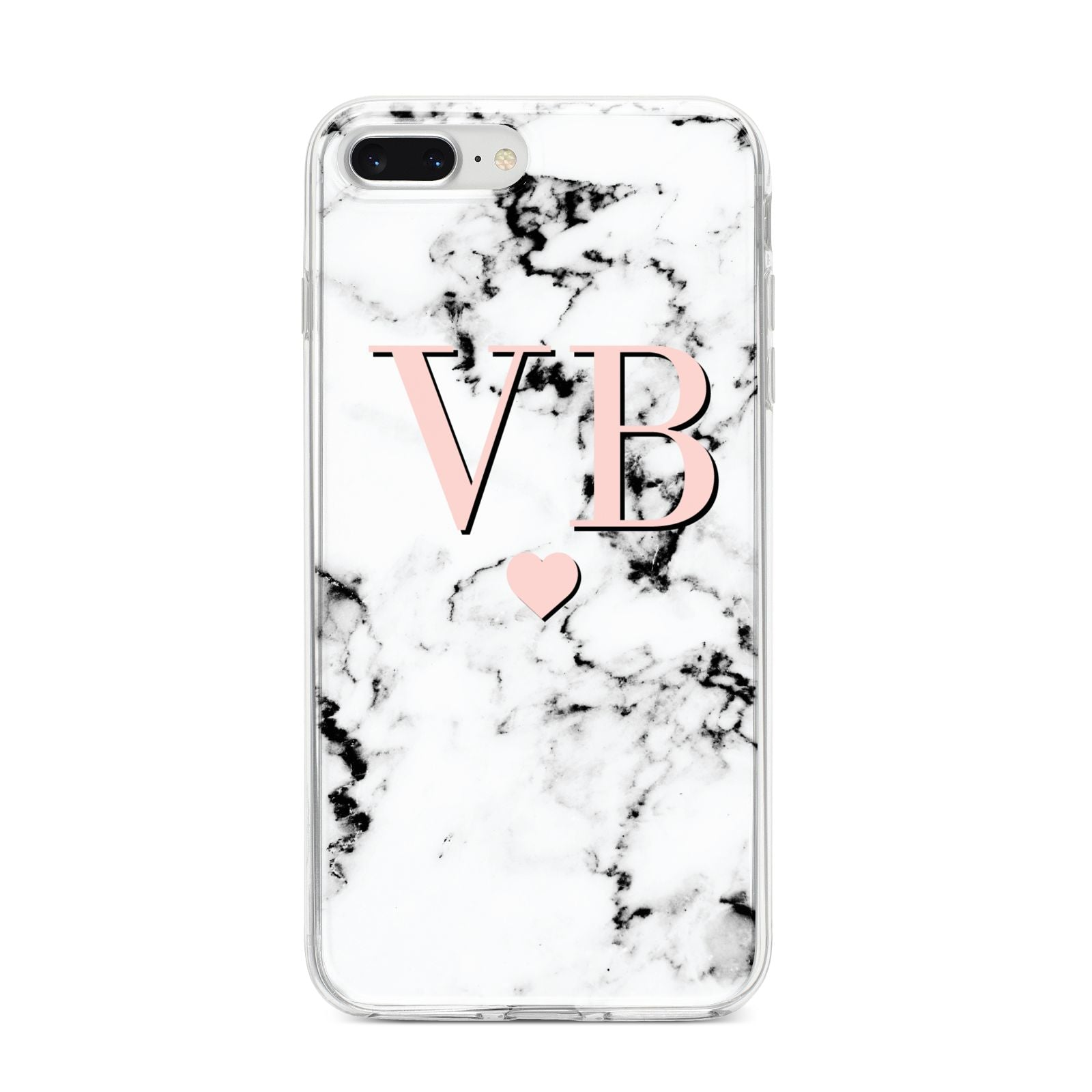 Personalised Coral Heart Initial Marble iPhone 8 Plus Bumper Case on Silver iPhone