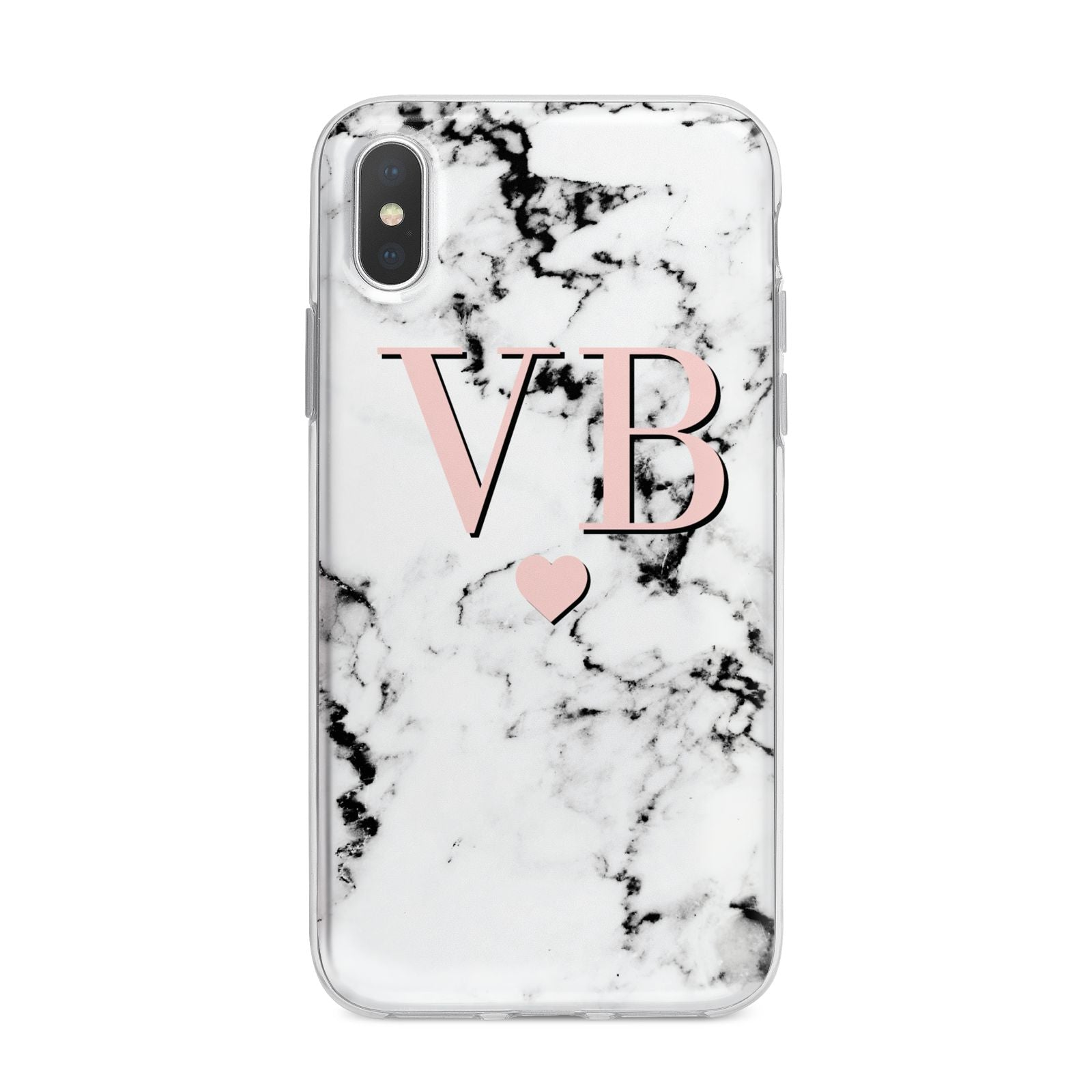 Personalised Coral Heart Initial Marble iPhone X Bumper Case on Silver iPhone Alternative Image 1