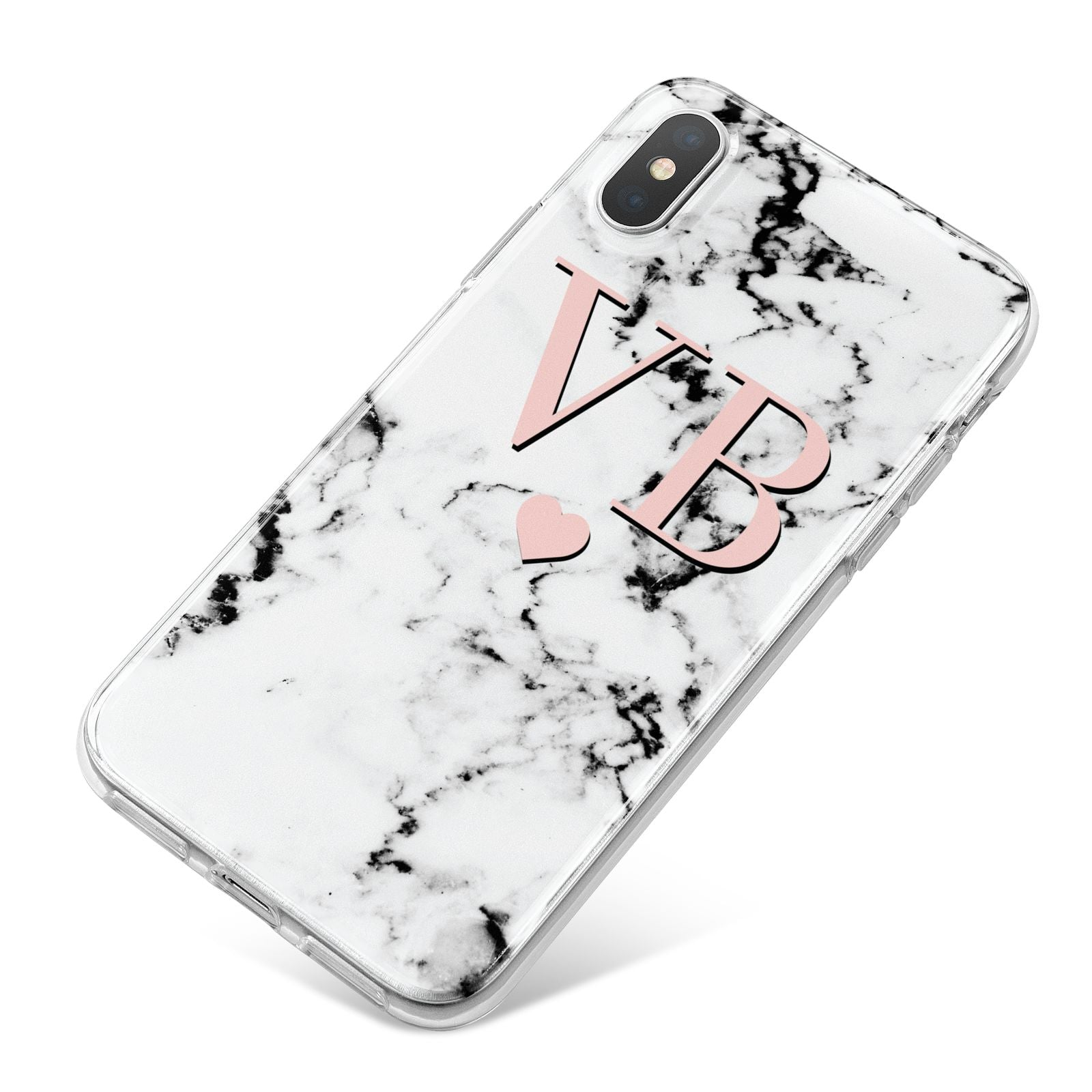 Personalised Coral Heart Initial Marble iPhone X Bumper Case on Silver iPhone