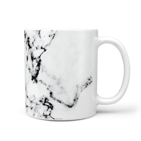 Personalised Coral Heart Initialled Marble Mug
