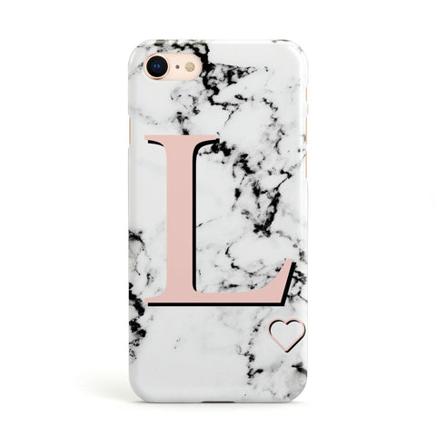 Personalised Coral Heart Initialled Marble Apple iPhone Case