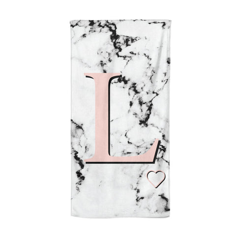 Personalised Coral Heart Initialled Marble Beach Towel