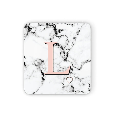 Personalised Coral Heart Initialled Marble Coasters set of 4