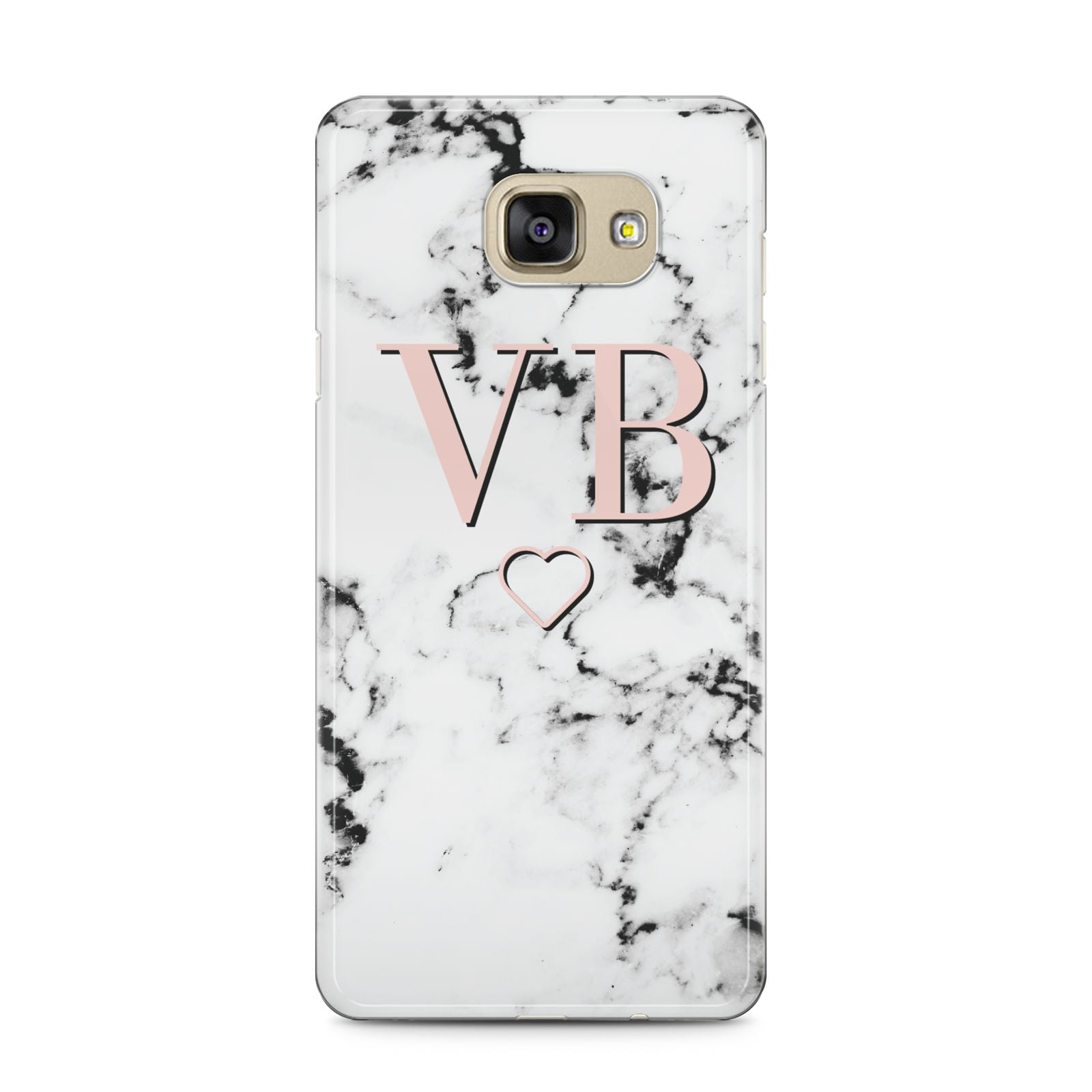 Personalised Coral Initials Heart Marble Samsung Galaxy A5 2016 Case on gold phone