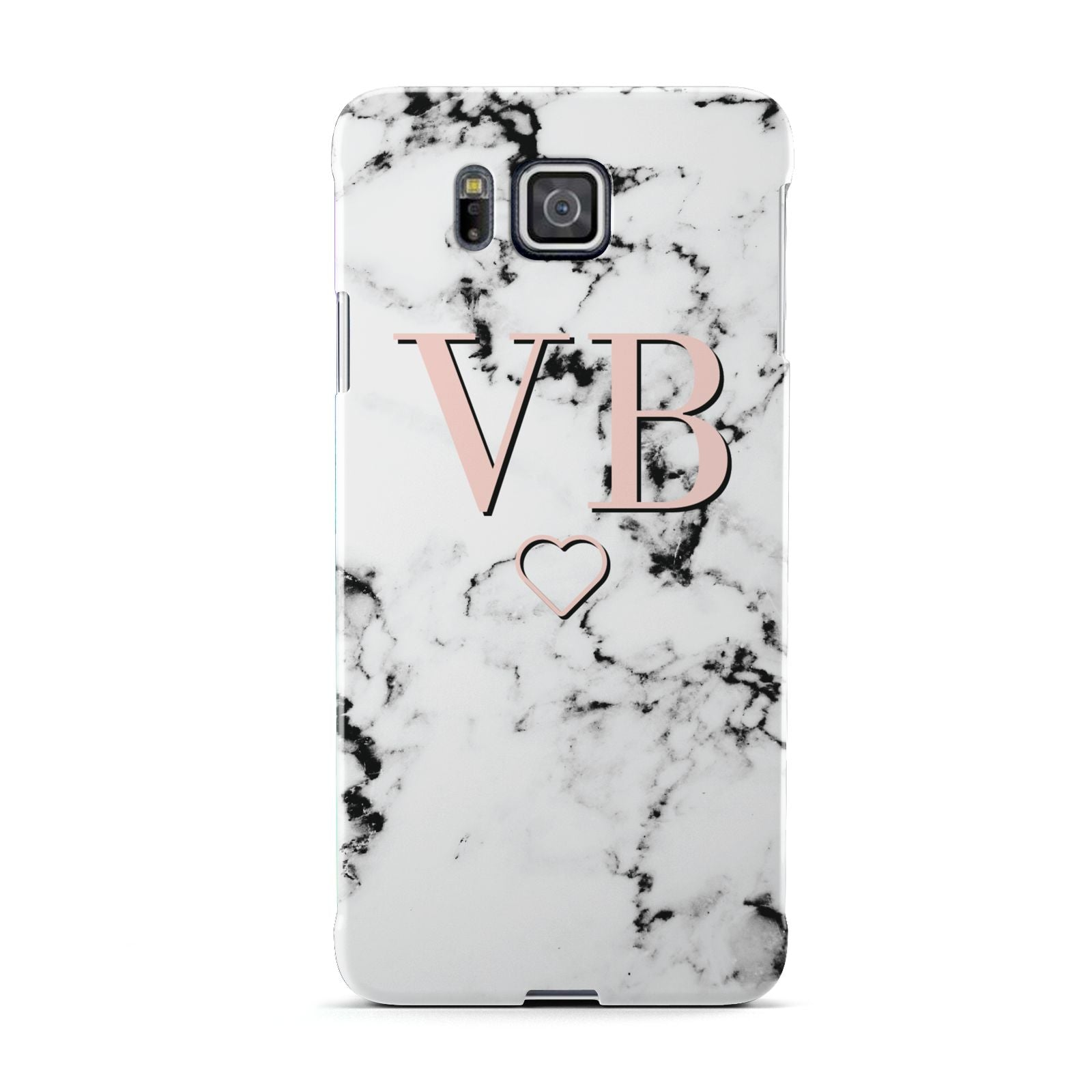 Personalised Coral Initials Heart Marble Samsung Galaxy Alpha Case