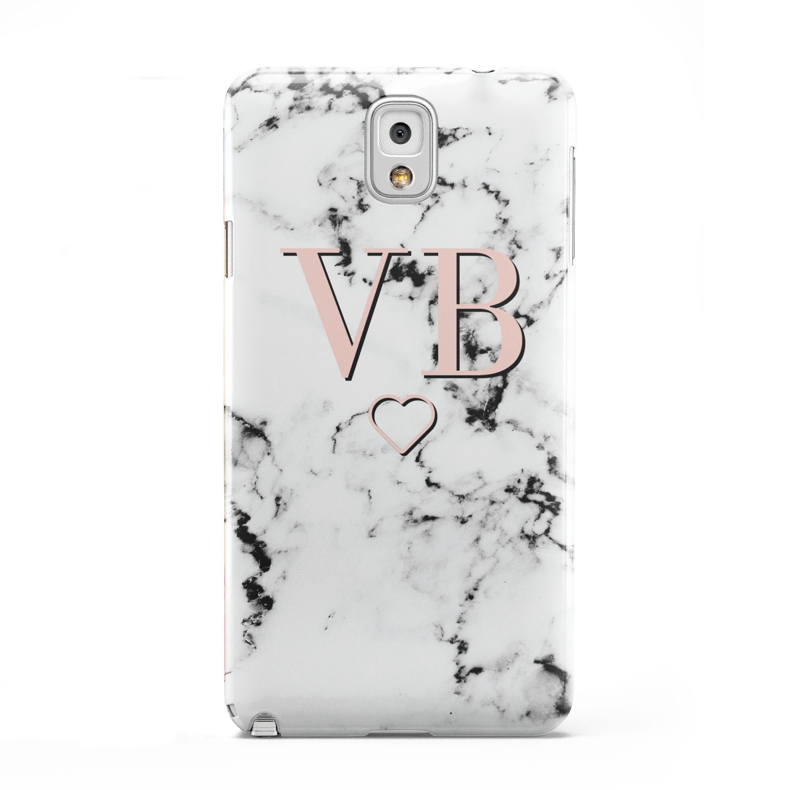 Personalised Coral Initials Heart Marble Samsung Galaxy Note 3 Case