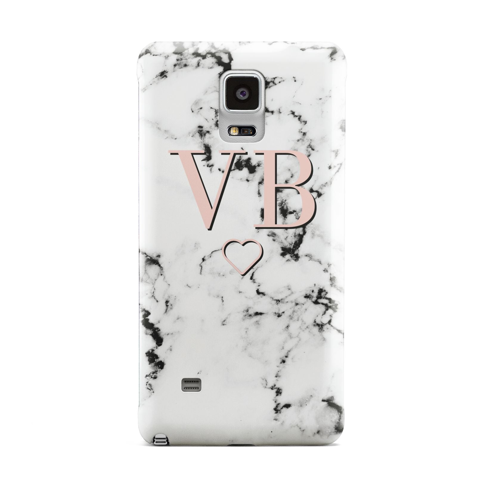 Personalised Coral Initials Heart Marble Samsung Galaxy Note 4 Case