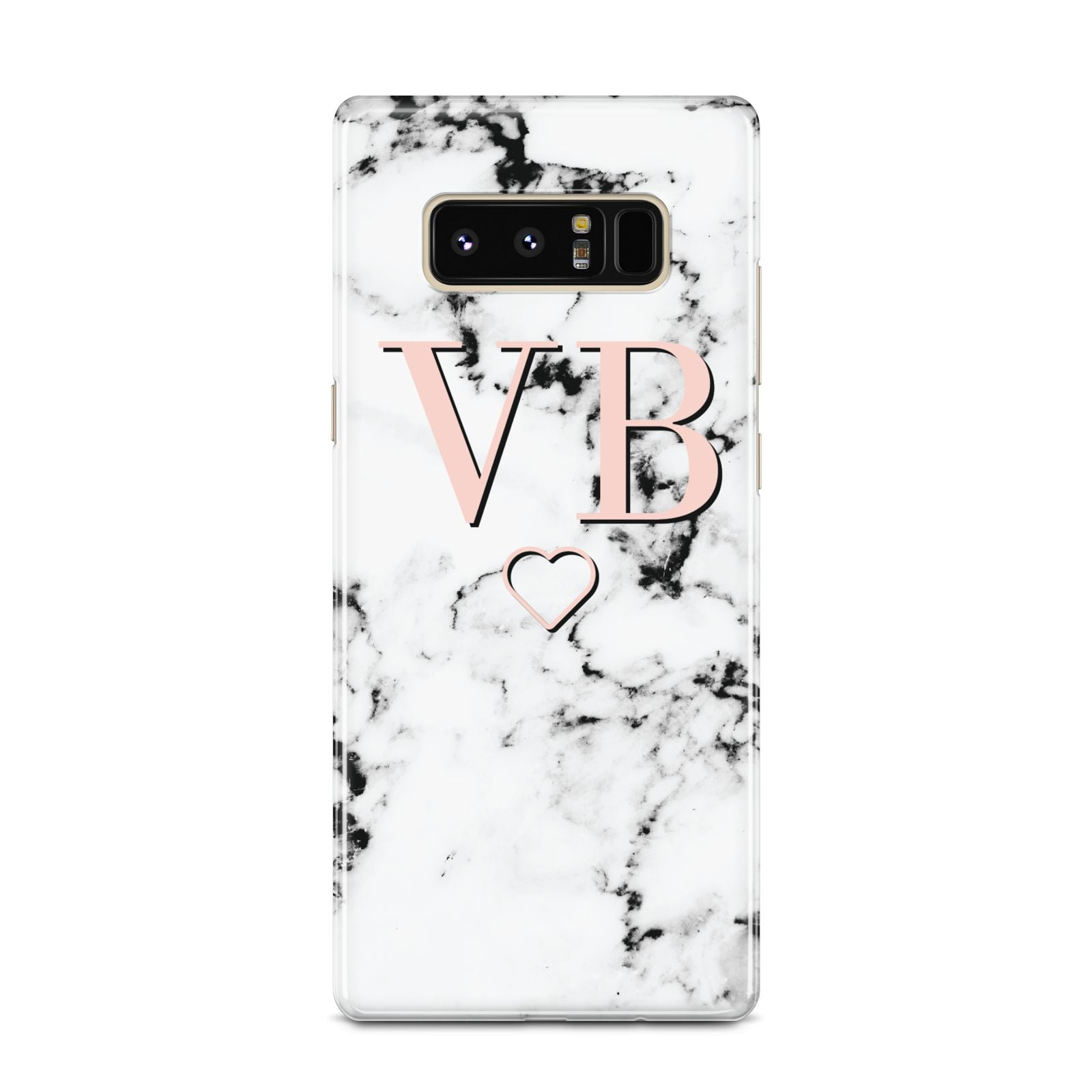 Personalised Coral Initials Heart Marble Samsung Galaxy Note 8 Case