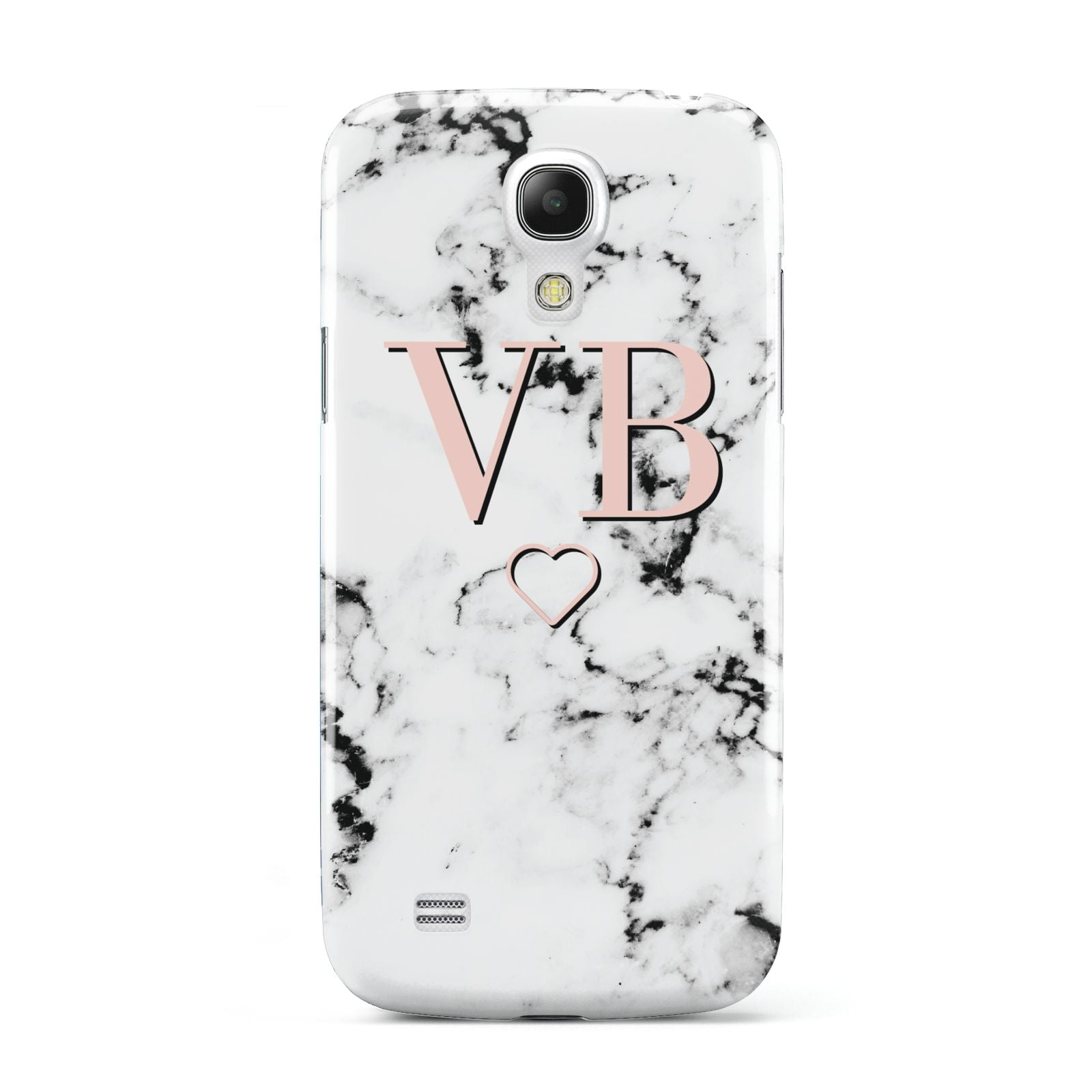 Personalised Coral Initials Heart Marble Samsung Galaxy S4 Mini Case