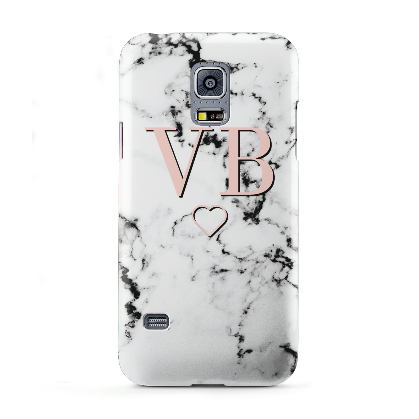 Personalised Coral Initials Heart Marble Samsung Galaxy S5 Mini Case