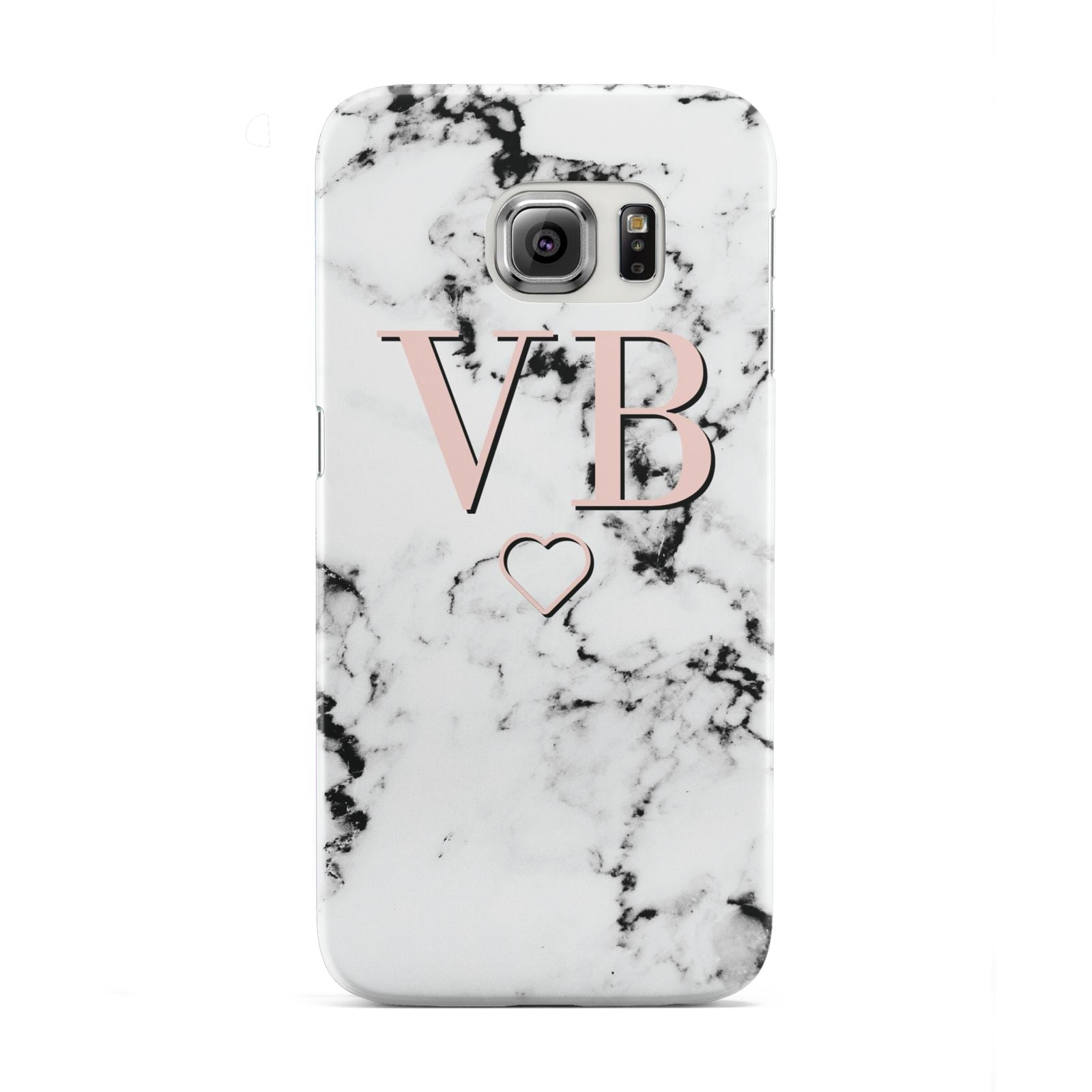 Personalised Coral Initials Heart Marble Samsung Galaxy S6 Edge Case