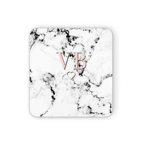 Personalised Coral Initials Heart Marble Coasters set of 4
