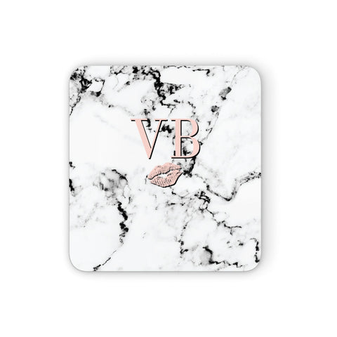Personalised Coral Initials Lips Marble Coasters set of 4