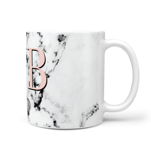 Personalised Coral Initials Marble Crown Mug