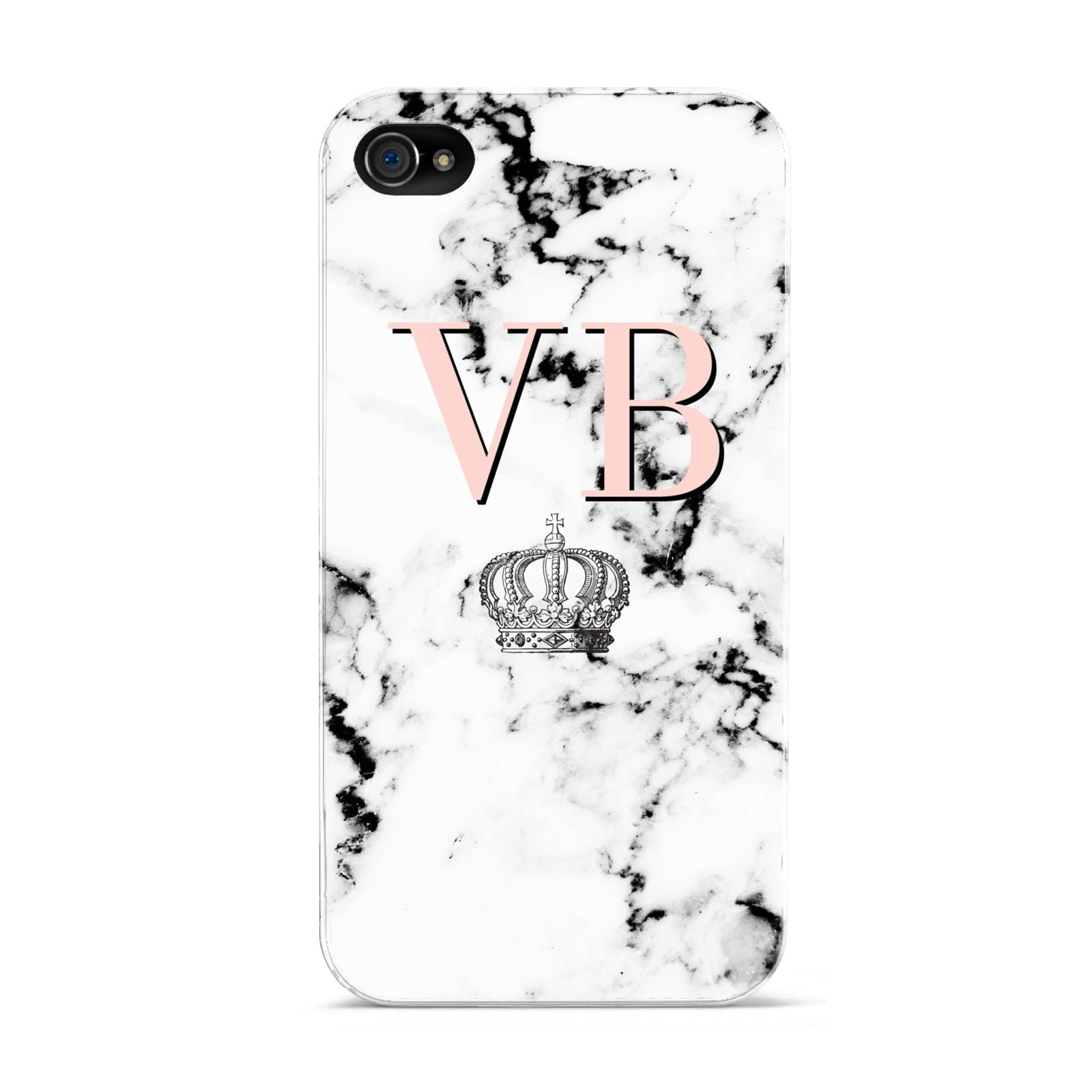 Personalised Coral Initials Marble Crown Apple iPhone 4s Case