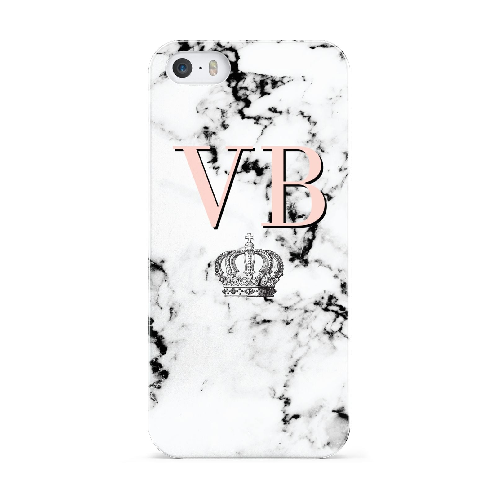 Personalised Coral Initials Marble Crown Apple iPhone 5 Case