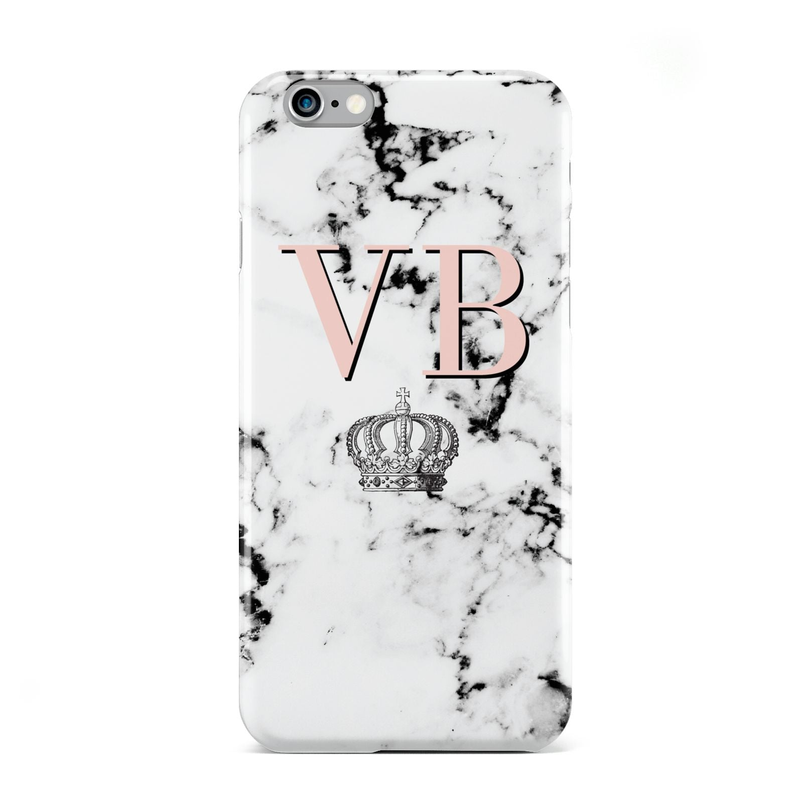 Personalised Coral Initials Marble Crown Apple iPhone 6 Case
