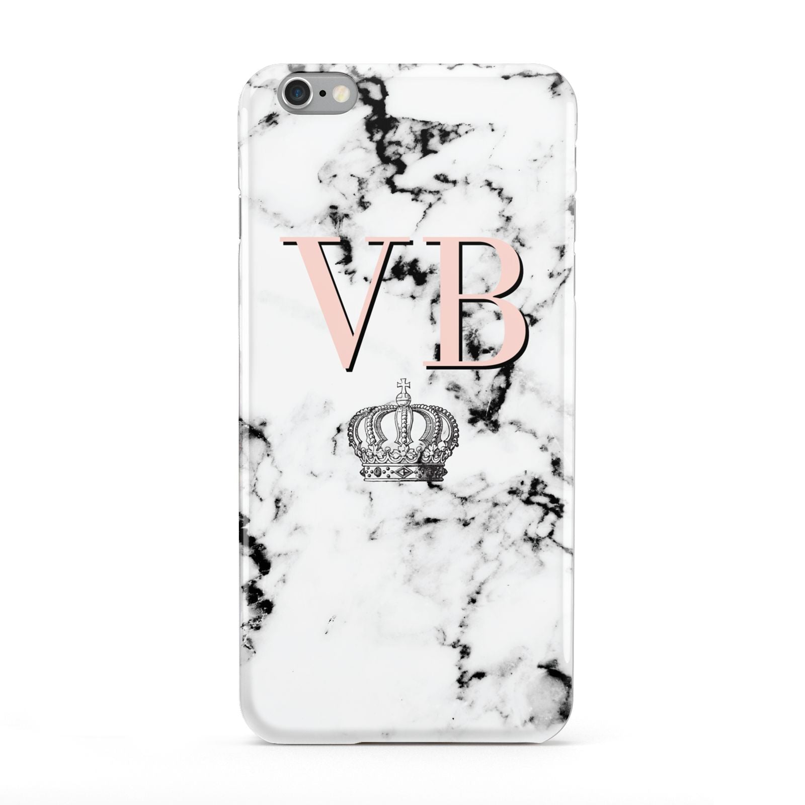 Personalised Coral Initials Marble Crown Apple iPhone 6 Plus Case