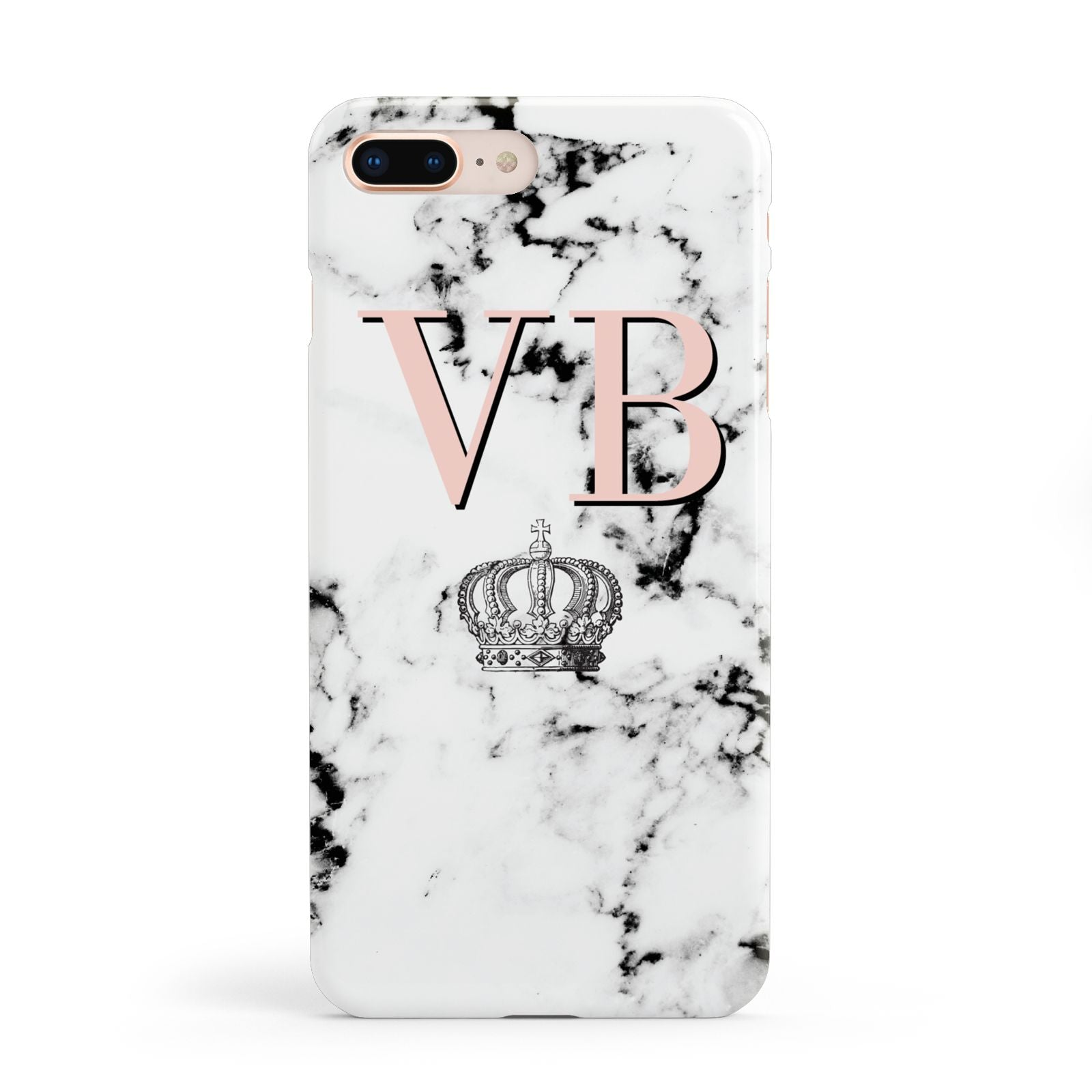 Personalised Coral Initials Marble Crown Apple iPhone 8 Plus Case