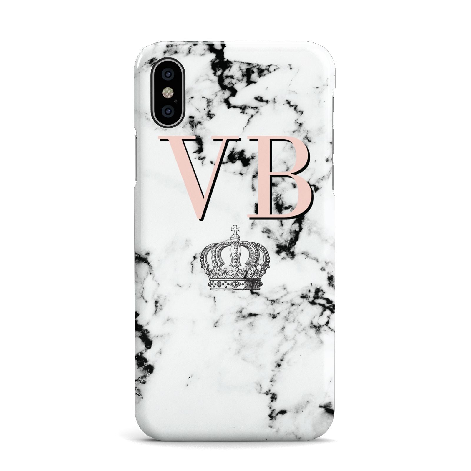 Personalised Coral Initials Marble Crown Apple iPhone X Case