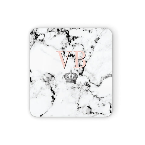 Personalised Coral Initials Marble Crown Coasters set of 4