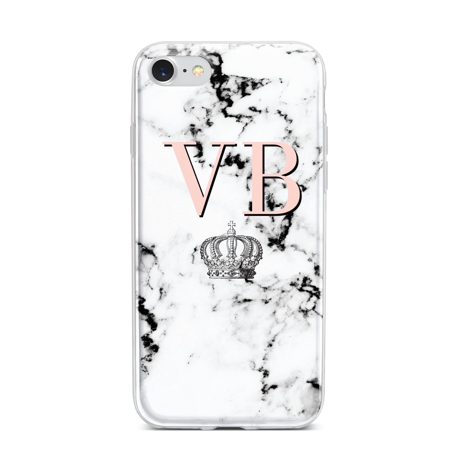Personalised Coral Initials Marble Crown iPhone 7 Bumper Case on Silver iPhone