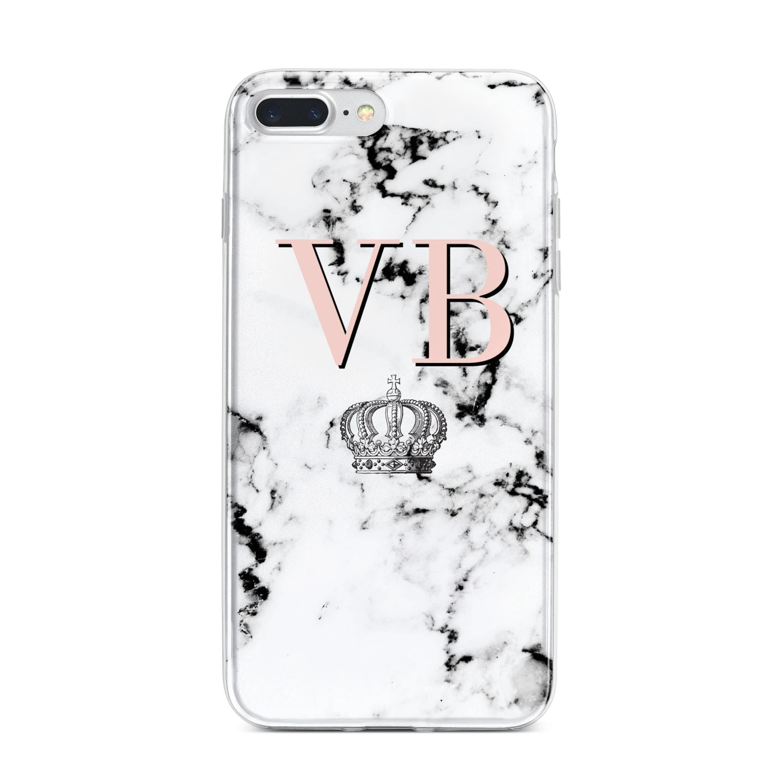 Personalised Coral Initials Marble Crown iPhone 7 Plus Bumper Case on Silver iPhone