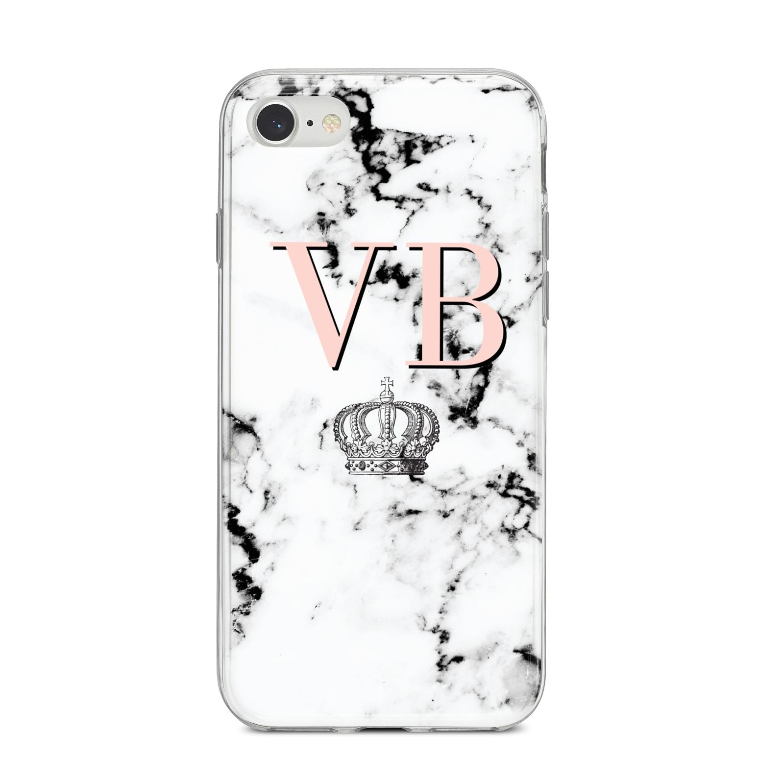 Personalised Coral Initials Marble Crown iPhone 8 Bumper Case on Silver iPhone
