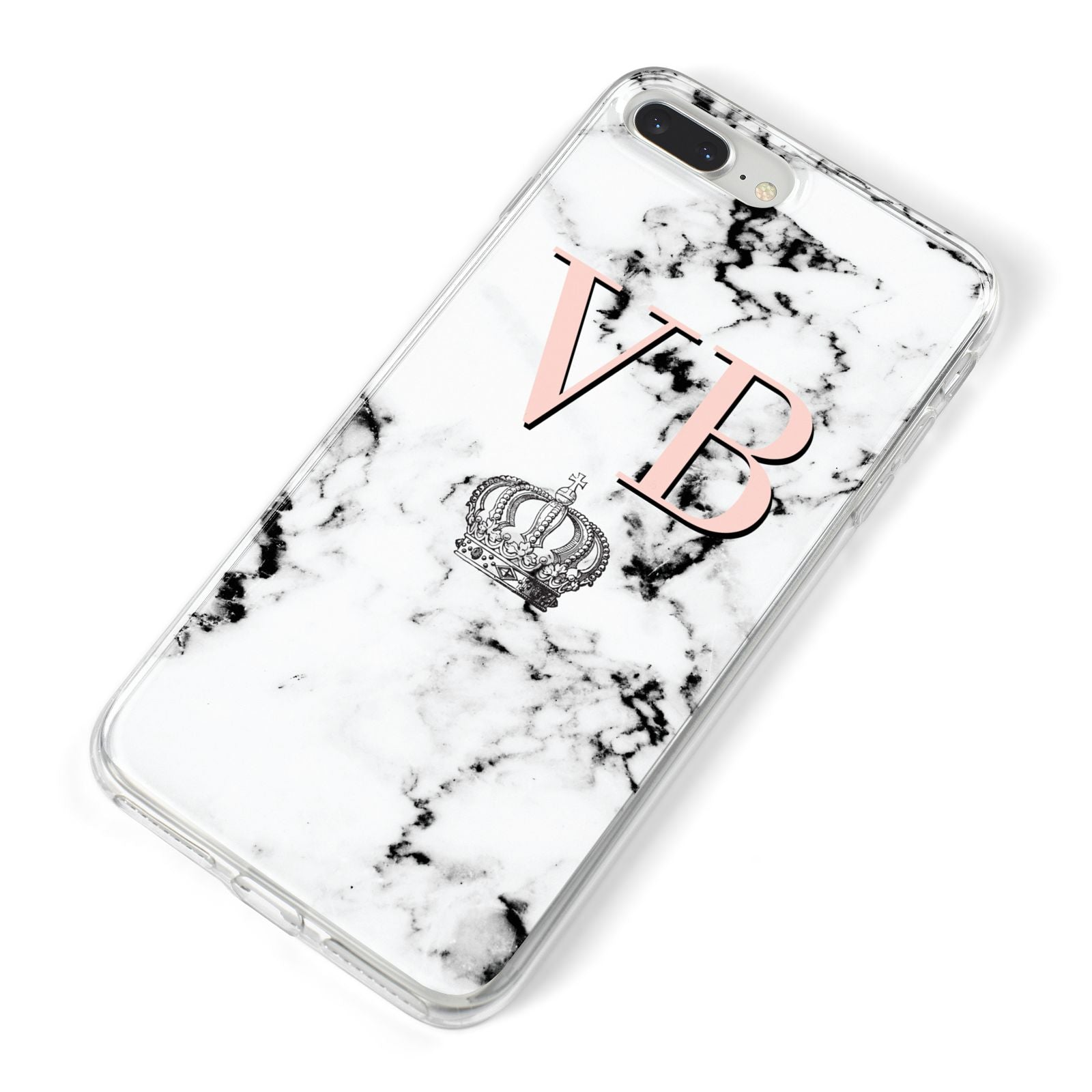 Personalised Coral Initials Marble Crown iPhone 8 Plus Bumper Case on Silver iPhone Alternative Image