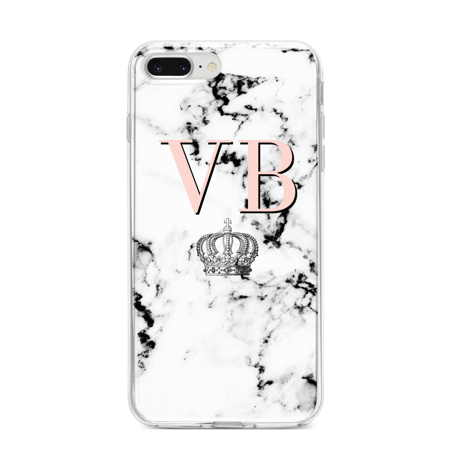 Personalised Coral Initials Marble Crown iPhone 8 Plus Bumper Case on Silver iPhone