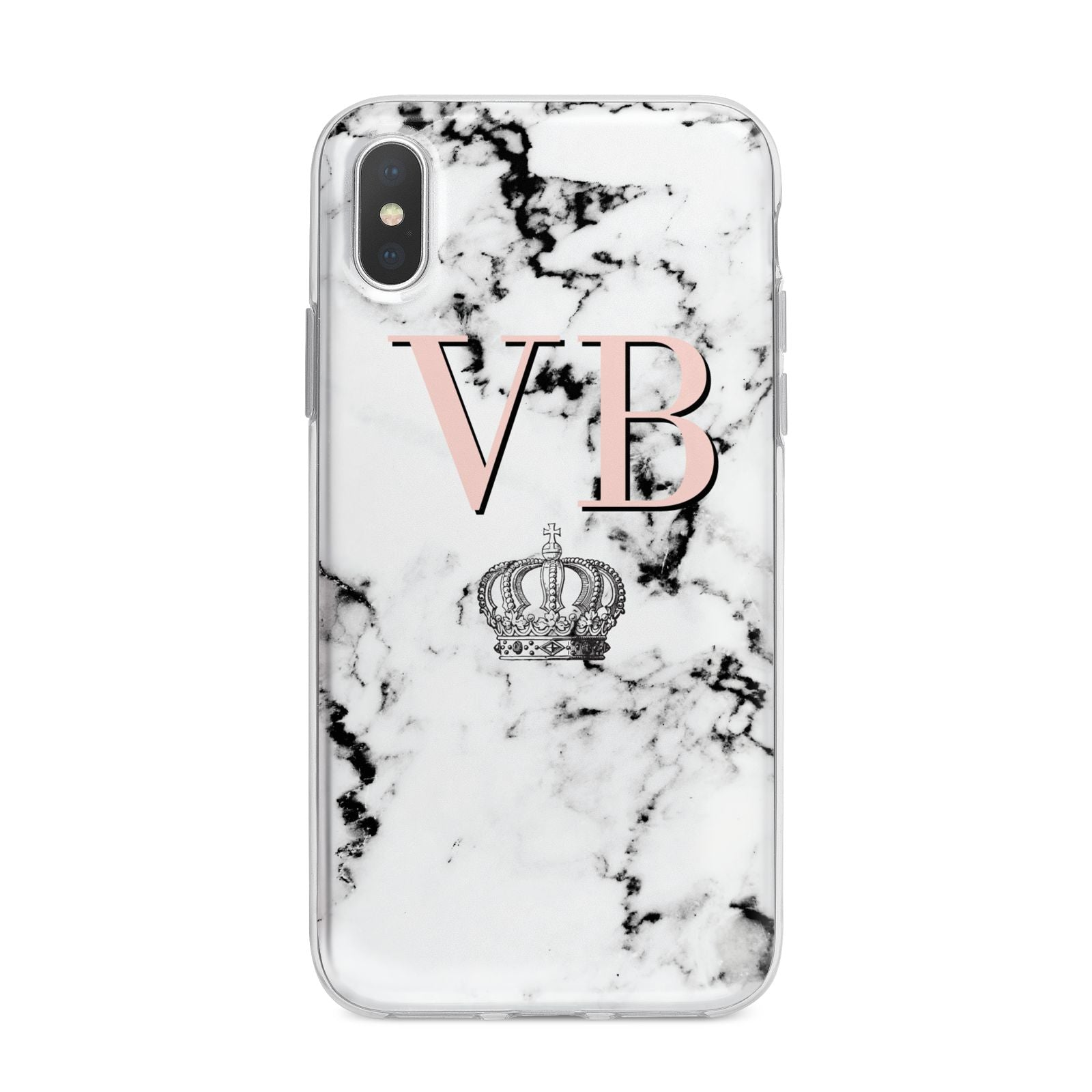 Personalised Coral Initials Marble Crown iPhone X Bumper Case on Silver iPhone Alternative Image 1