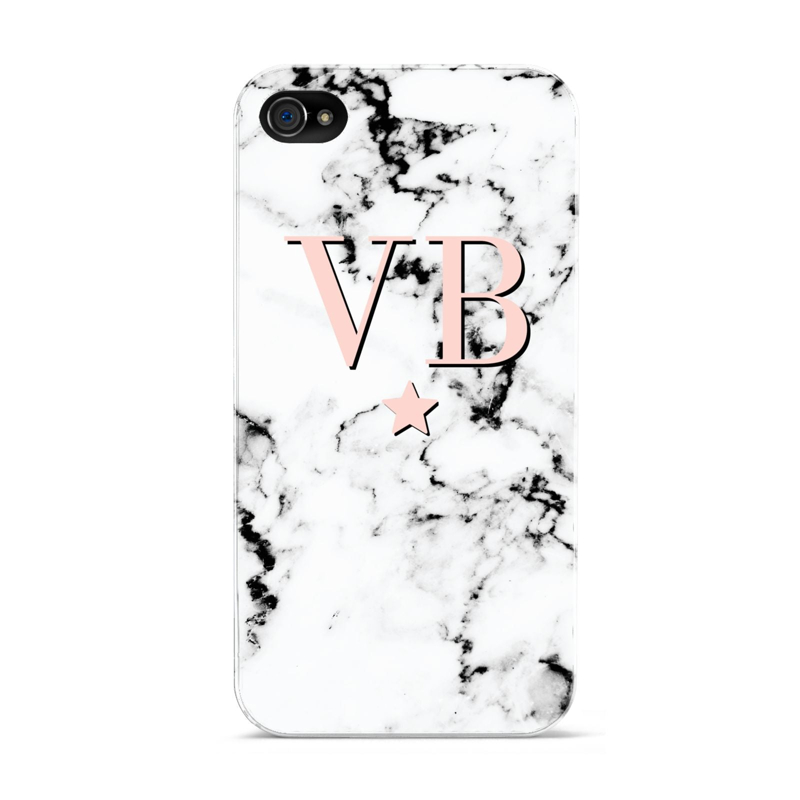 Personalised Coral Initials Star Marble Apple iPhone 4s Case