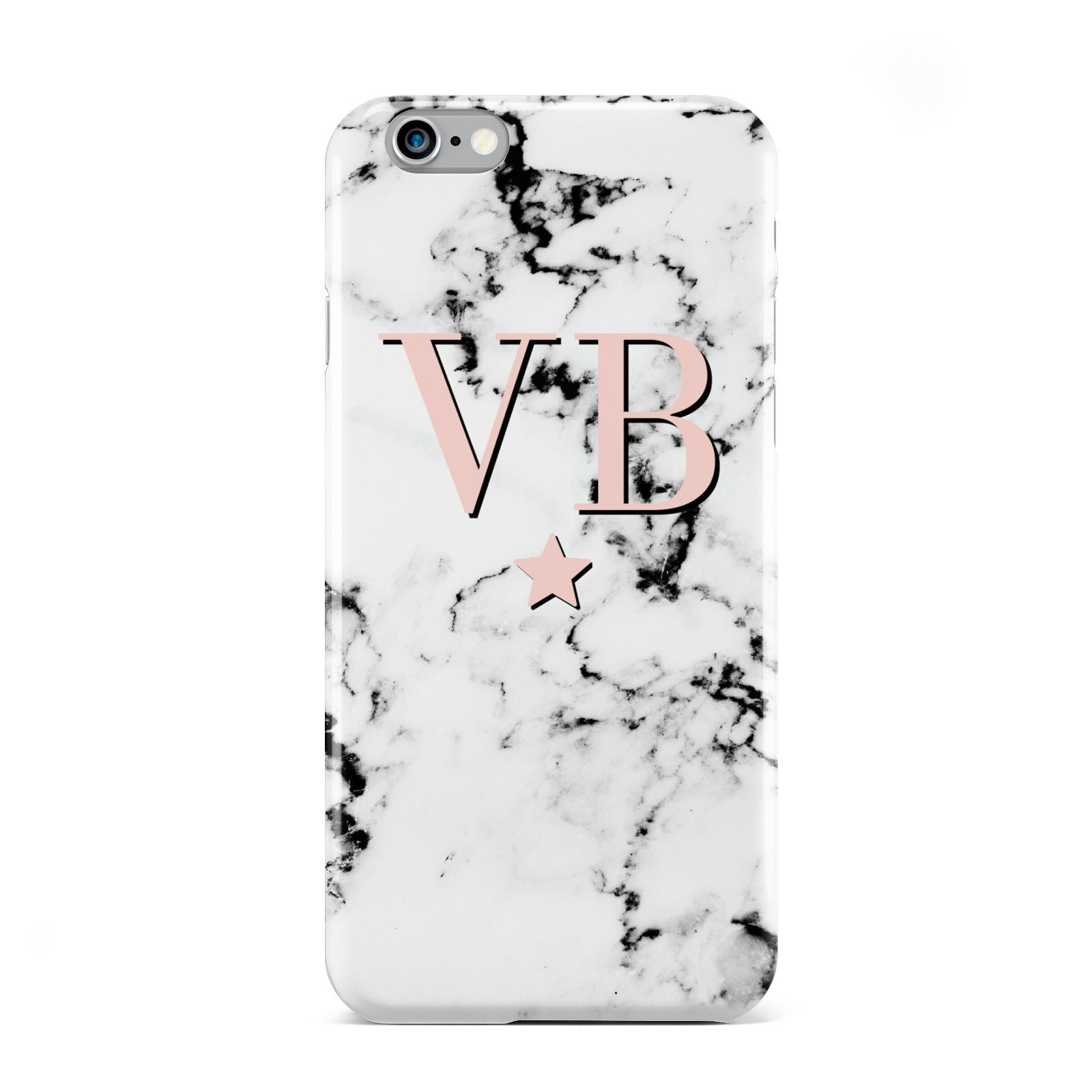Personalised Coral Initials Star Marble Apple iPhone 6 Case