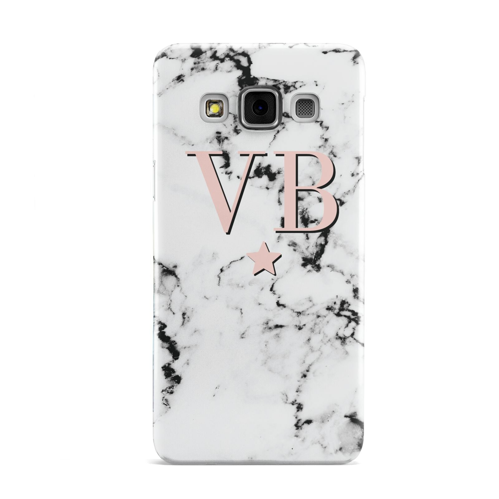 Personalised Coral Initials Star Marble Samsung Galaxy A3 Case
