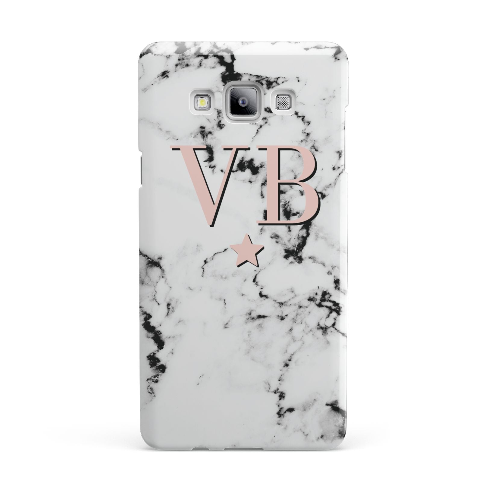Personalised Coral Initials Star Marble Samsung Galaxy A7 2015 Case