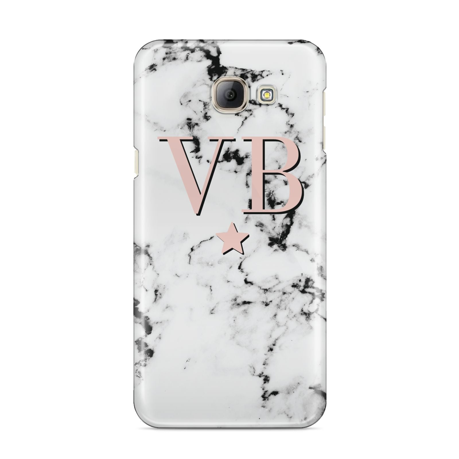 Personalised Coral Initials Star Marble Samsung Galaxy A8 2016 Case