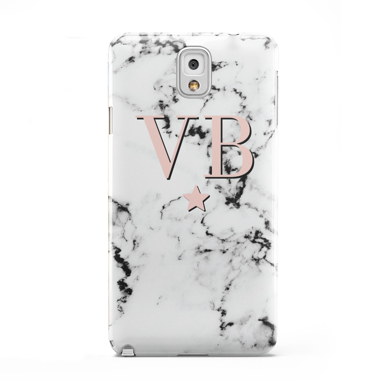 Personalised Coral Initials Star Marble Samsung Galaxy Note 3 Case