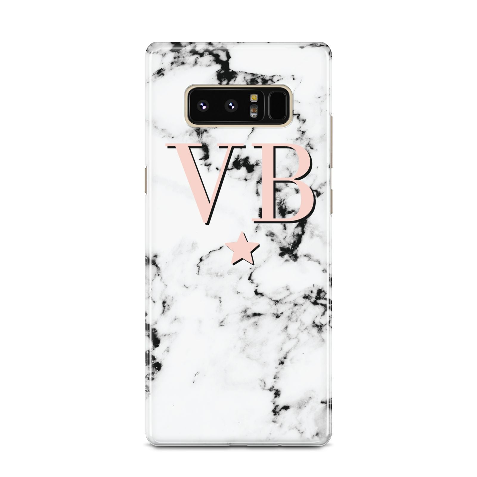 Personalised Coral Initials Star Marble Samsung Galaxy Note 8 Case