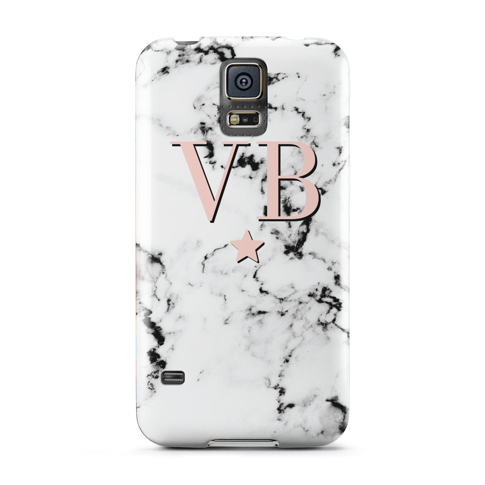 Personalised Coral Initials Star Marble Samsung Galaxy S5 Case