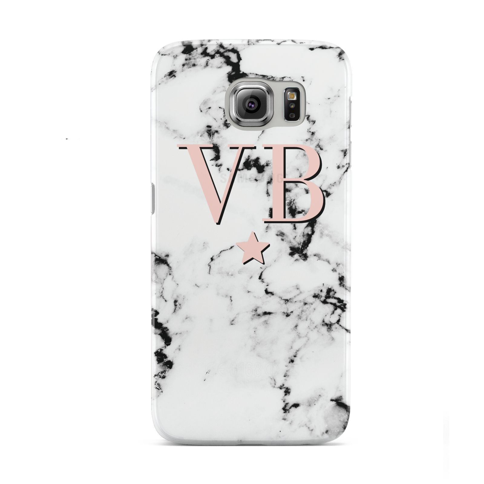 Personalised Coral Initials Star Marble Samsung Galaxy S6 Case