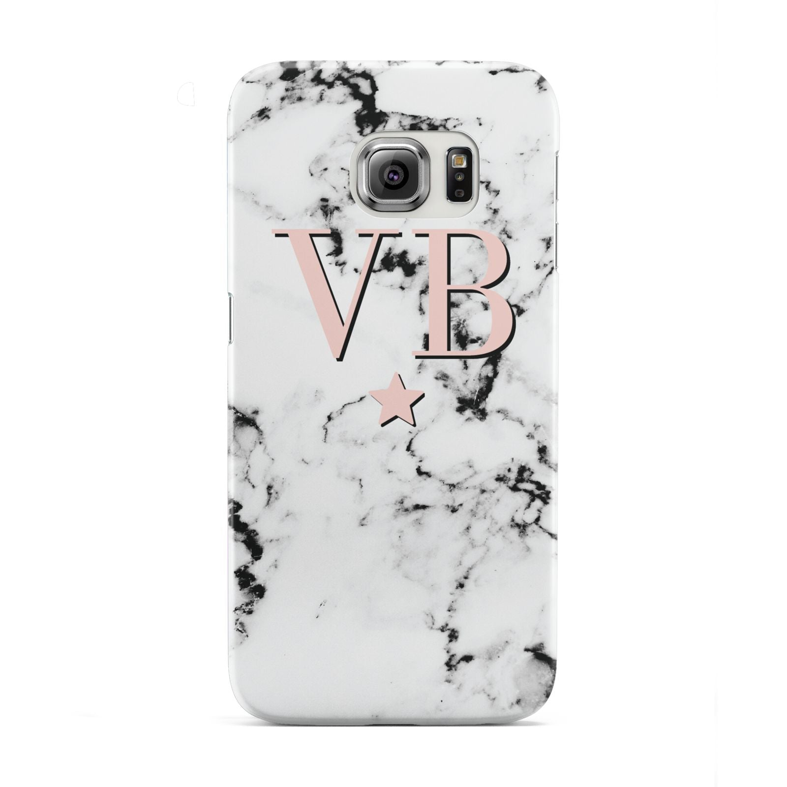 Personalised Coral Initials Star Marble Samsung Galaxy S6 Edge Case
