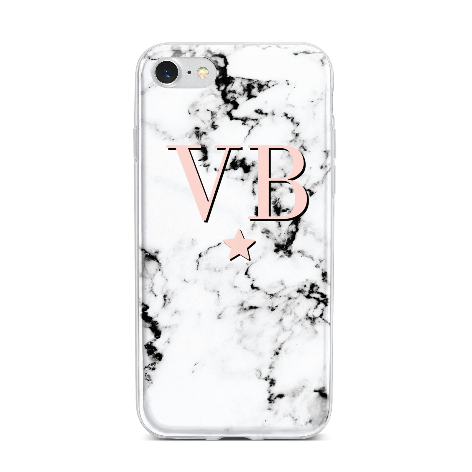 Personalised Coral Initials Star Marble iPhone 7 Bumper Case on Silver iPhone