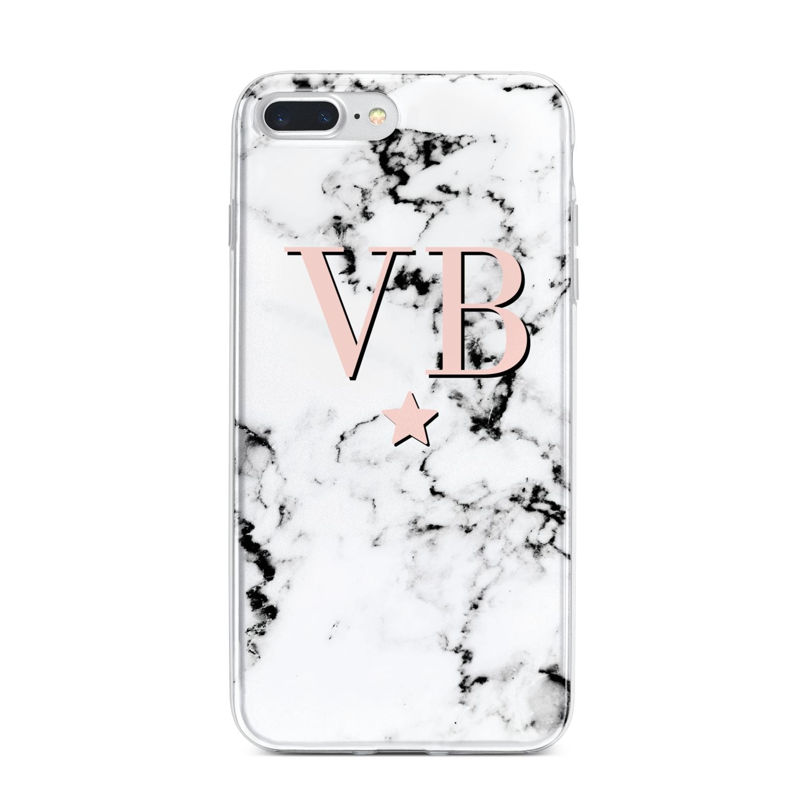Personalised Coral Initials Star Marble iPhone 7 Plus Bumper Case on Silver iPhone