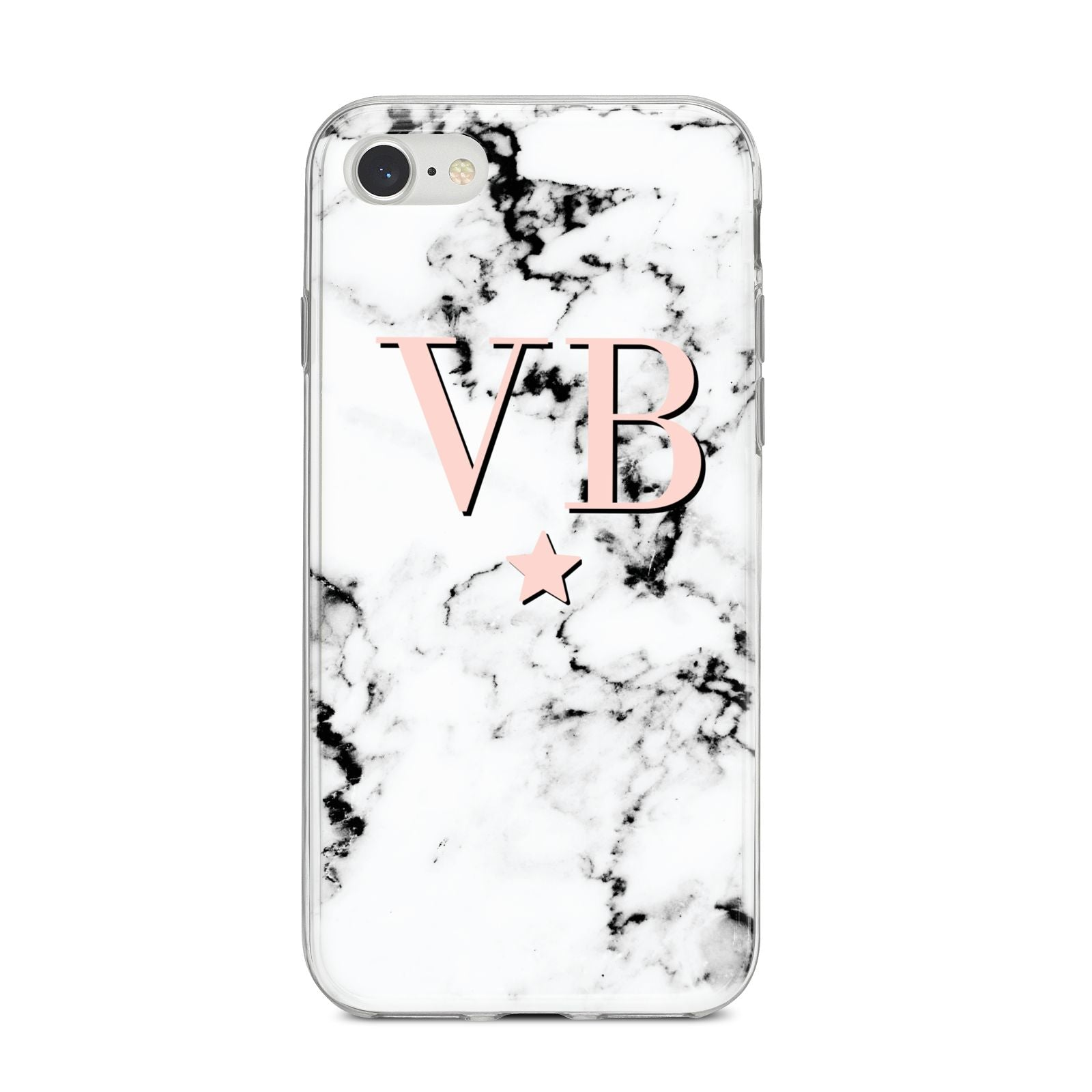 Personalised Coral Initials Star Marble iPhone 8 Bumper Case on Silver iPhone