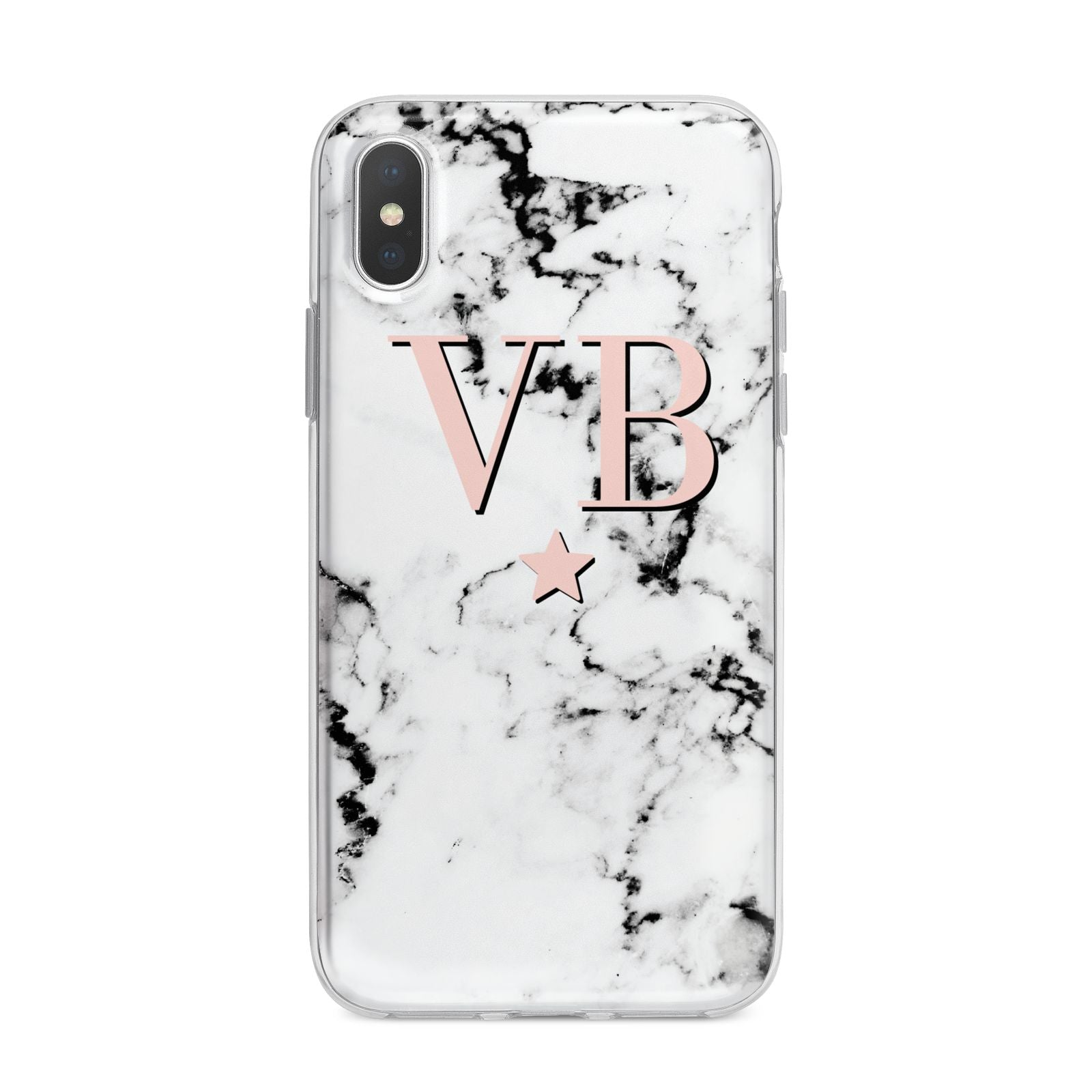 Personalised Coral Initials Star Marble iPhone X Bumper Case on Silver iPhone Alternative Image 1