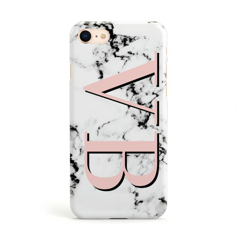 Personalised Coral Malble Initials Apple iPhone Case