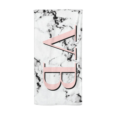 Personalised Coral Malble Initials Beach Towel